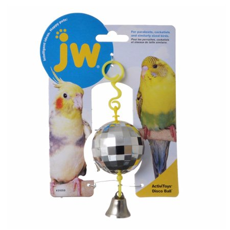 JW Pet Activitoy Disco Ball Bird Grooving the Beat Tiny Mirror Effect Square This retro disco ball by JW pet company toy will have your bird grooving with the beat. The disco ball activitoy is covered in tiny reflective squares that give it a mirror effect that small birds love. Great for parakeets, cockatiels and similar sized birds.