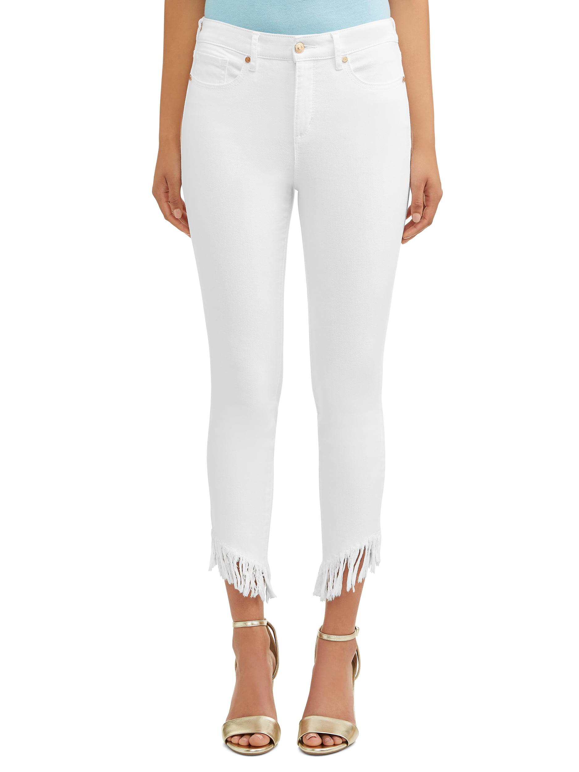 Rosa Curvy High Waist Fringed Hem Ankle Jean Women's (White)