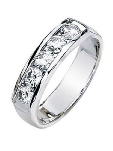 1ct Round Cut 5 Diamond Anniversary Wedding Band, Size 6, Channel set, 1 5ct each, Platinum by