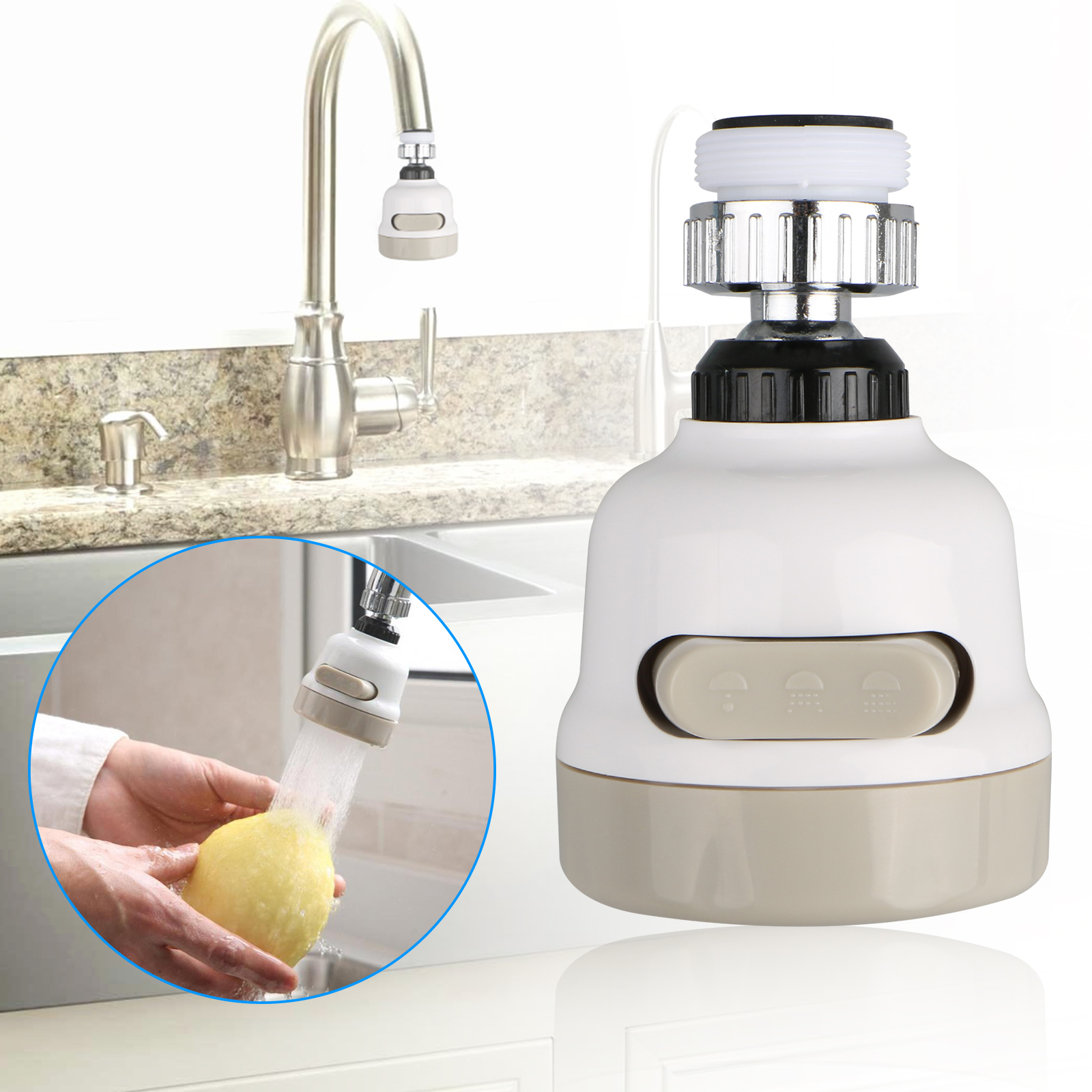 Moveable Swivel Kitchen Tap Head Water Saving Faucet Extender Sprayer Nozzle US