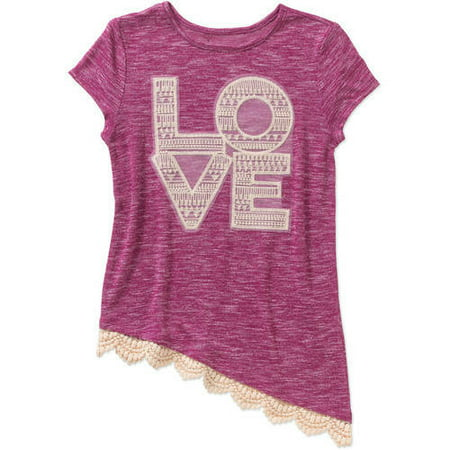 Image of Almost Famous Girls' Asymmetric T-Shirt with Crochet Lace Hem
