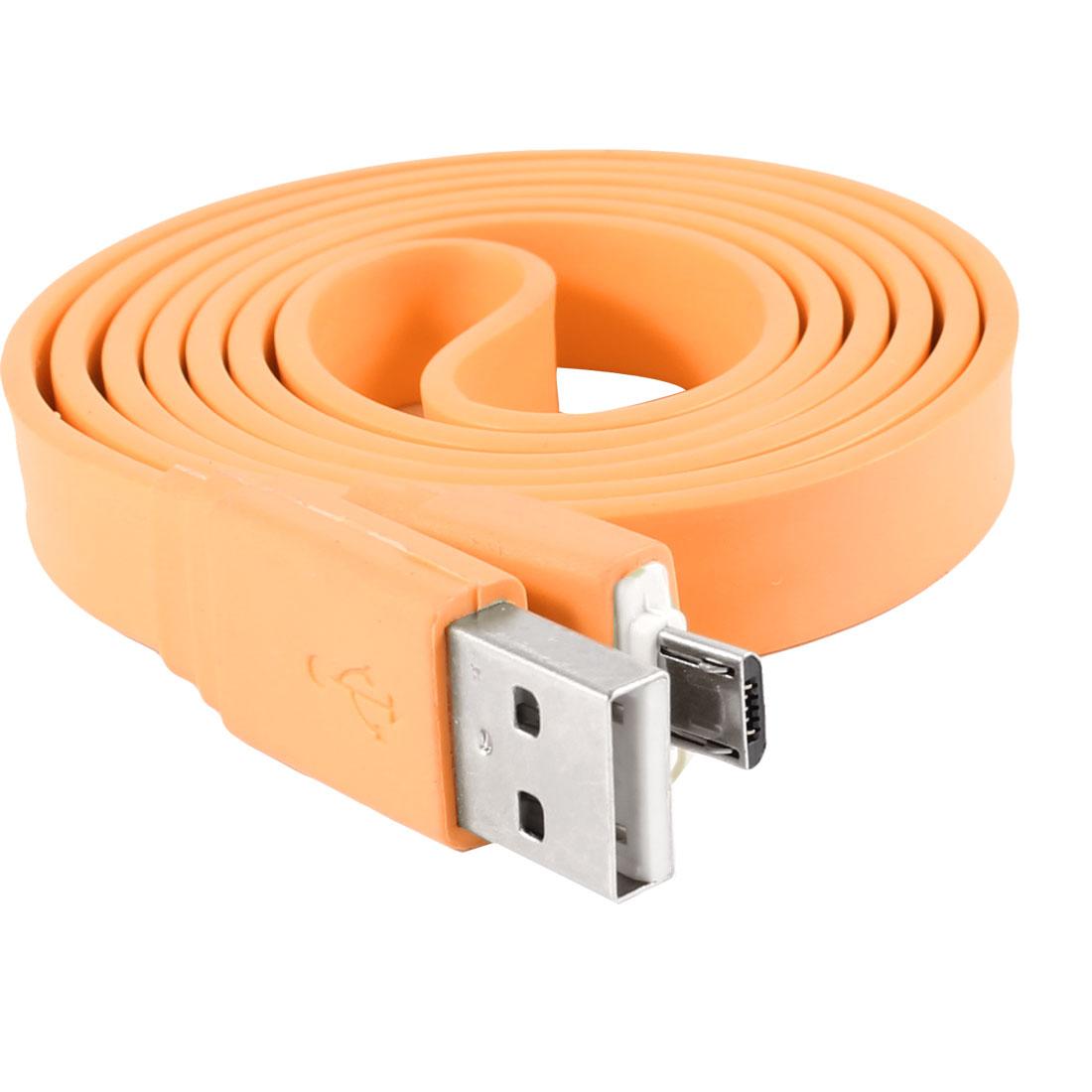 Unique Bargains Orange Plastc Micro USB 5 Pin Flat Data C...