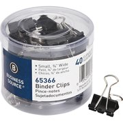Business Source, BSN65366, Small Binder Clips, 40 Per Pack, Black