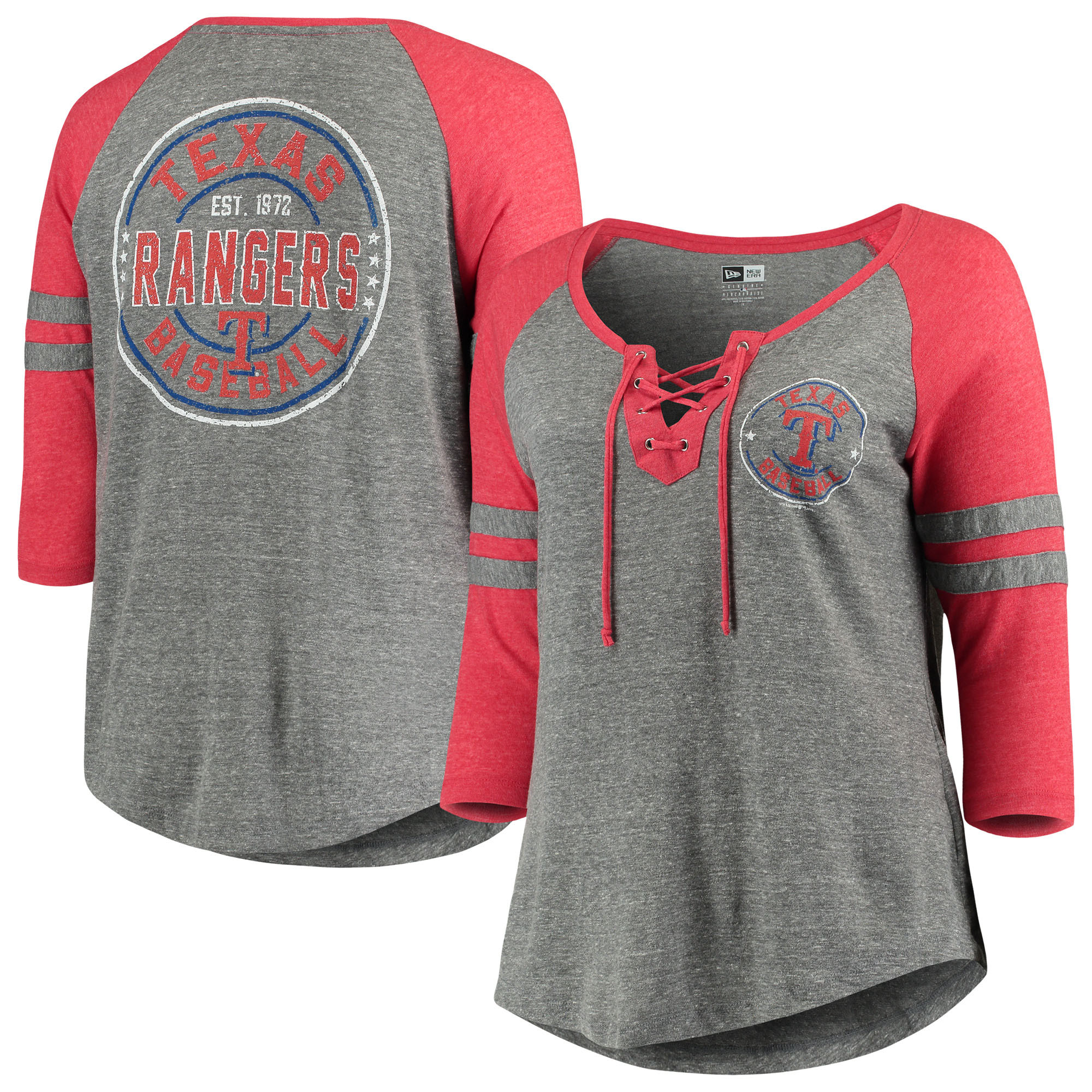 Texas Rangers 5th & Ocean by New Era Women's Plus Size Jersey Tri-Blend 3/4-Sleeve Raglan Lace-Up V-Neck T-Shirt - Heathered Gray/Red