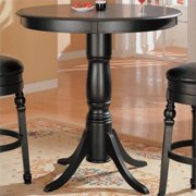 Bowery Hill Classic Round Pedestal Pub Table in Black by Bowery Hill