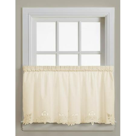 Battenburg Ecru Lace 24 Quot Kitchen Curtain Tier Walmart Com