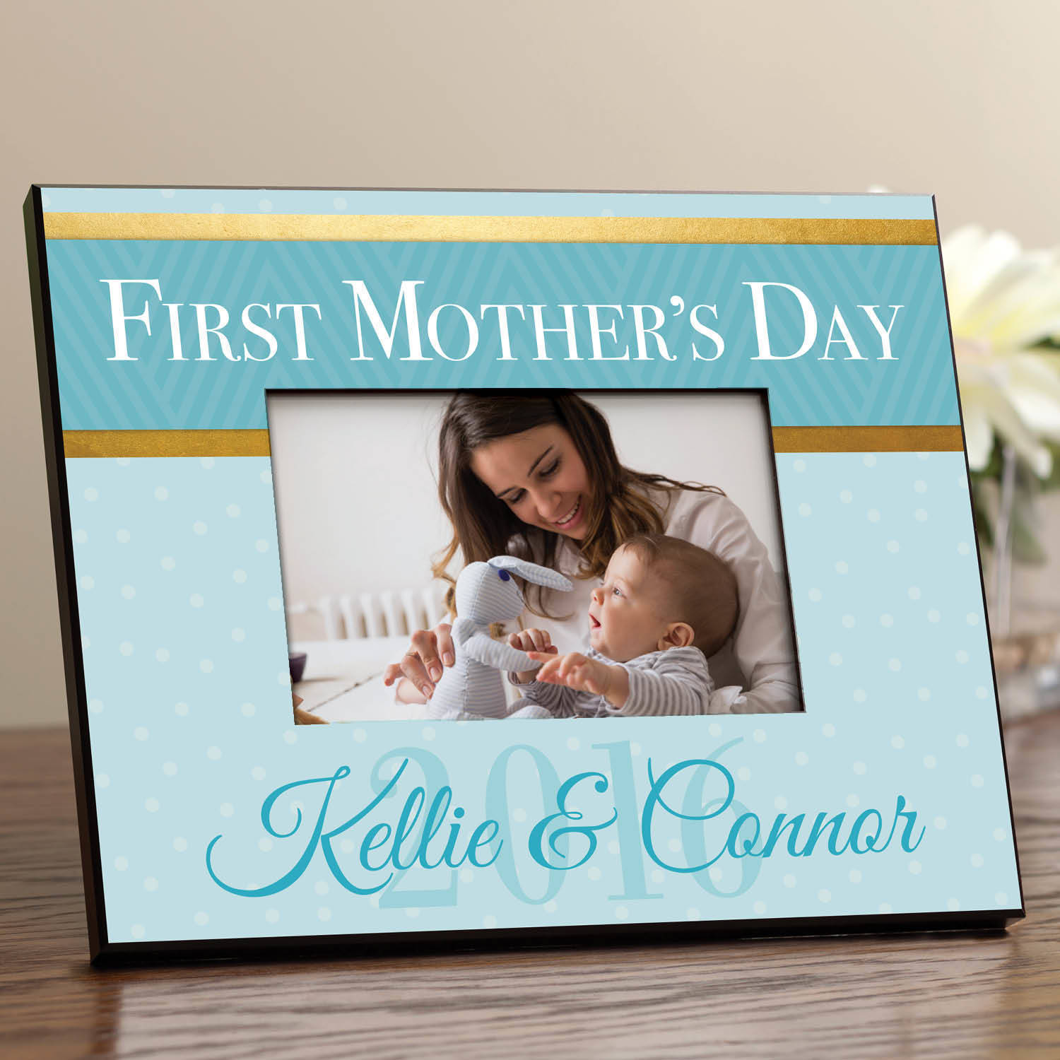 First Mother's Day Personalized Picture Frame, Blue