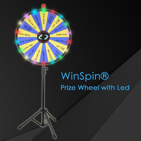 "WinSpin 24"" Floor Stand 18 Slot Prize Wheel LED Lights Tripod Fortune Spin Game Acrylic Board Carnival Tradeshow"