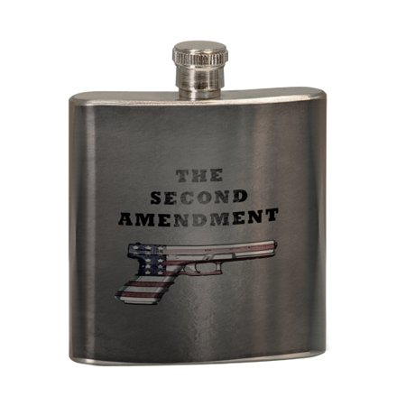 KuzmarK 6 oz. Stainless Steel Pocket Hip Liquor Flask - Second Amendment American Flag (Second Hand Pistol For Sale In India)
