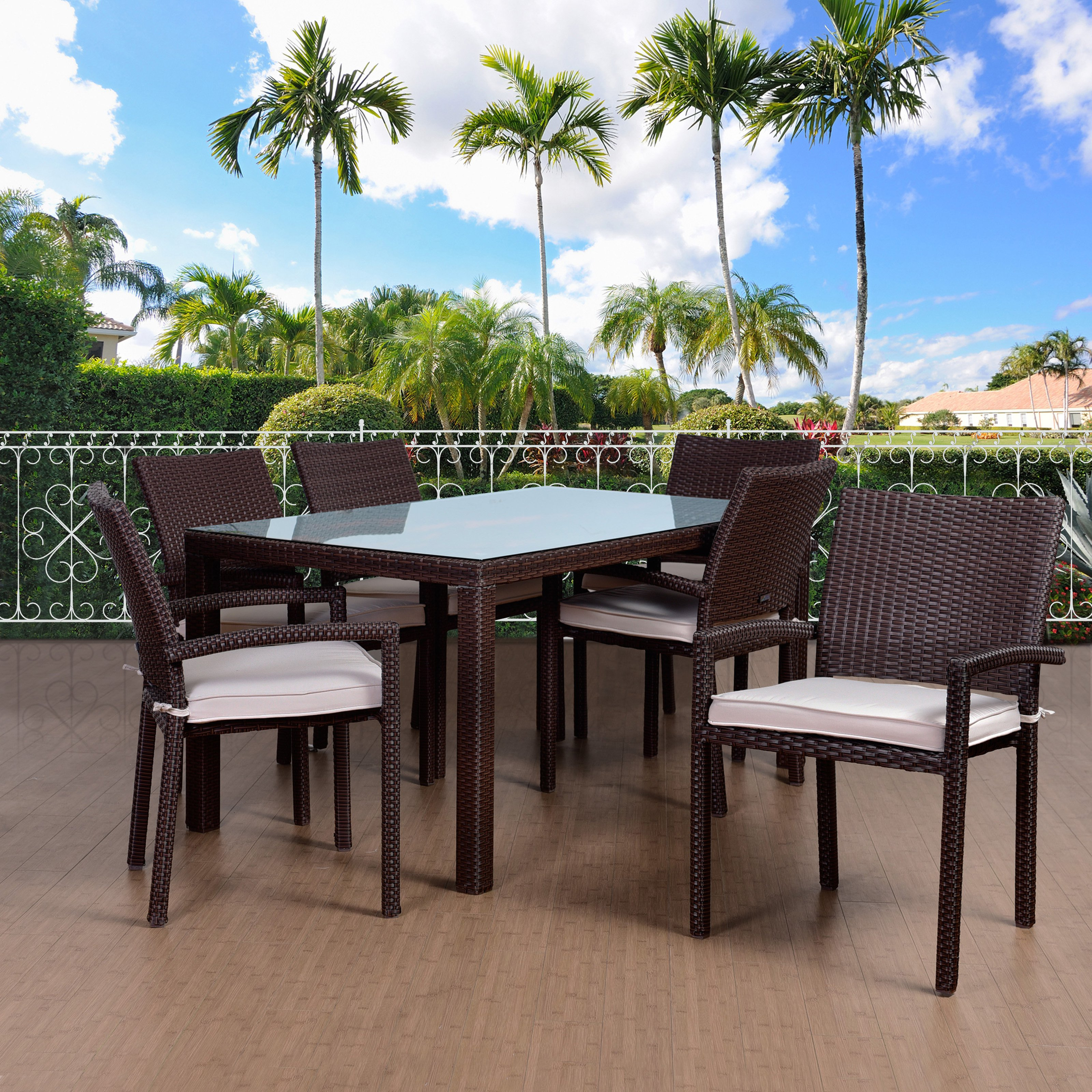 Atlantic Liberty Wicker 7 Piece Rectangular Patio Dining Set with Arm Chairs