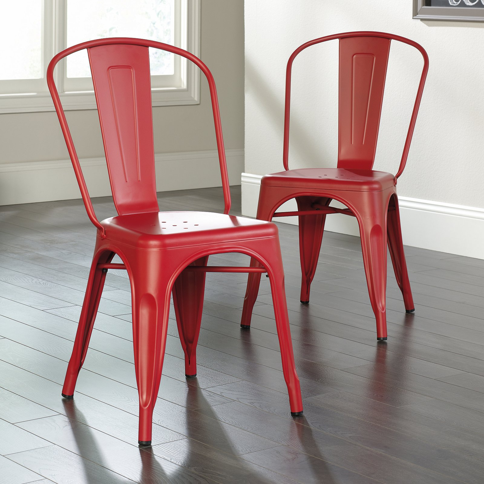 Sauder New Grange Metal Dining Chairs, 2-Pack, Red Finish