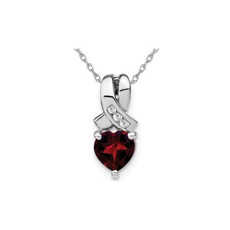 1.00 Carat (ctw) Heart Cut Garnet Pendant Necklace in Sterling Silver With Chain