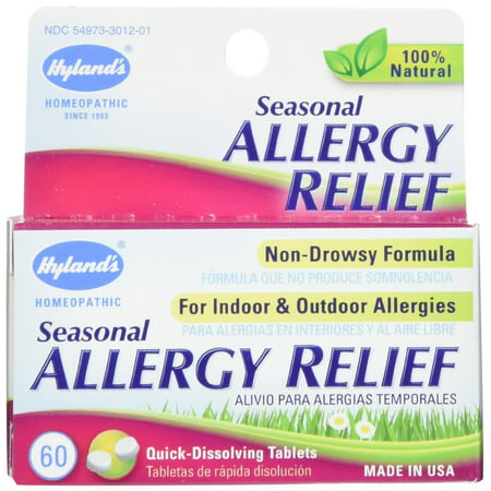 2 Pack Hyland's Seasonal Allergy Relief, Non Drowsy, 60 Tablets Each = 120