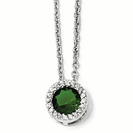 - Cheryl M Sterling Silver 18in W/ Rhodium-plated Glass Simulated Emerald & CZ Pendant Necklace