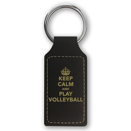 Keychain - Keep Calm and Play Volleyball (Black Rectangle) - Volleyball Keychains