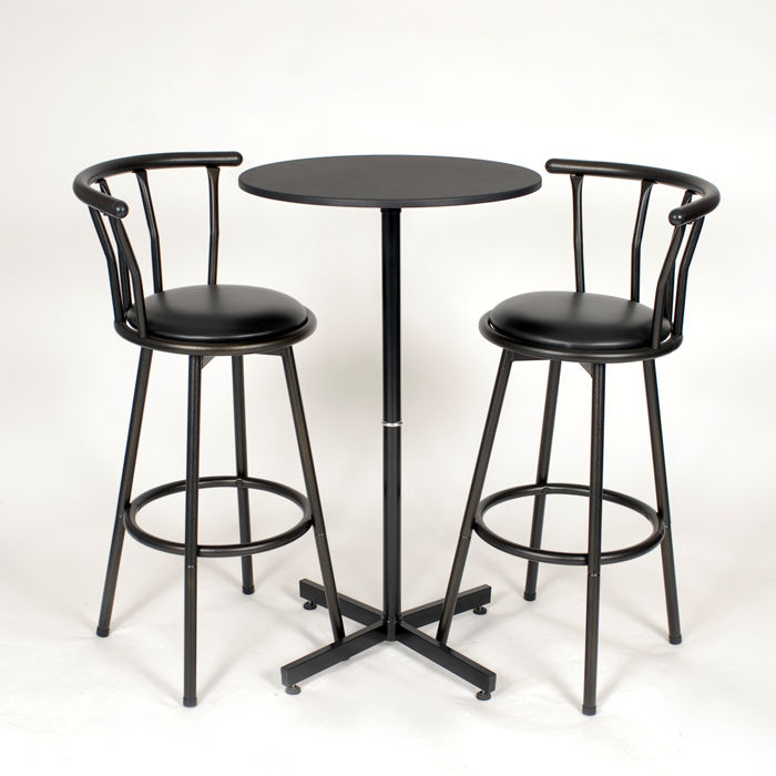 Round Table With Stools: Nor Hill Metal 3-Piece Bar Height Round Table Set With