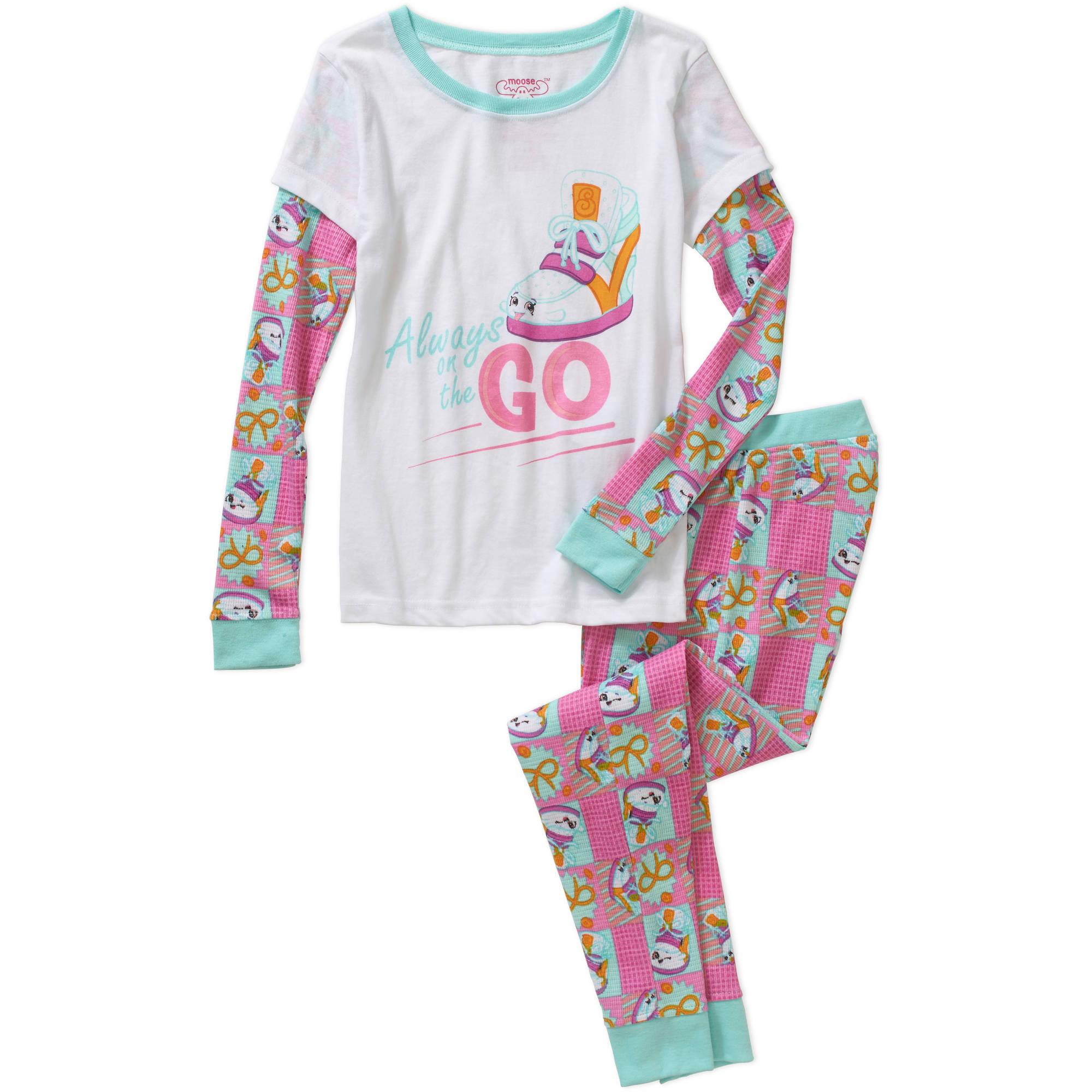 Shopkins Girls' Long Sleeve Wedge Waffle Top and Pant Sleepwear Set