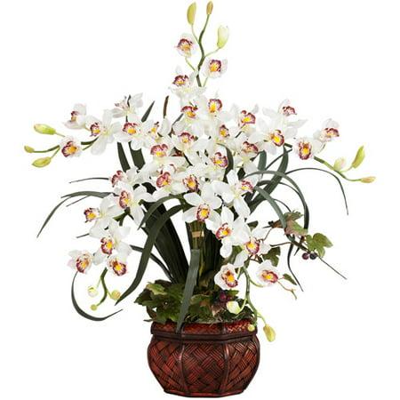 Cymbidium with Decorative Vase Silk Flower Arrangement, White
