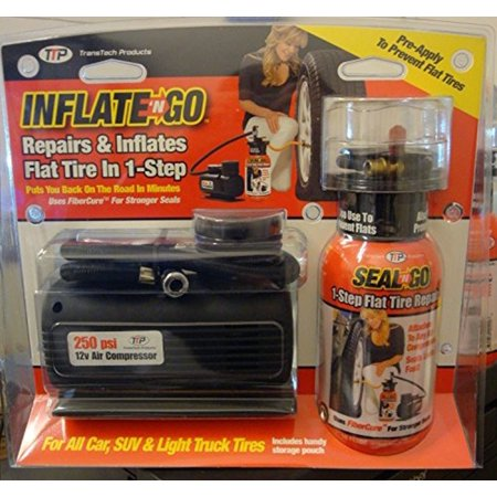 TTP Inflate N' Go Emergency Road Kit Tire Seal Air Compressor with Flat Tire