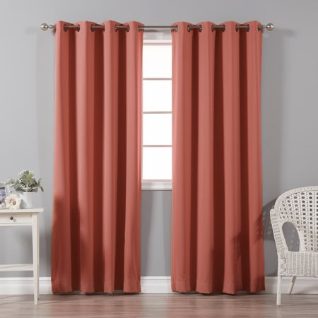 Quality Home Basic Thermal Blackout Curtains - Antique Bronze Grommet Top - Brick (Set of 2