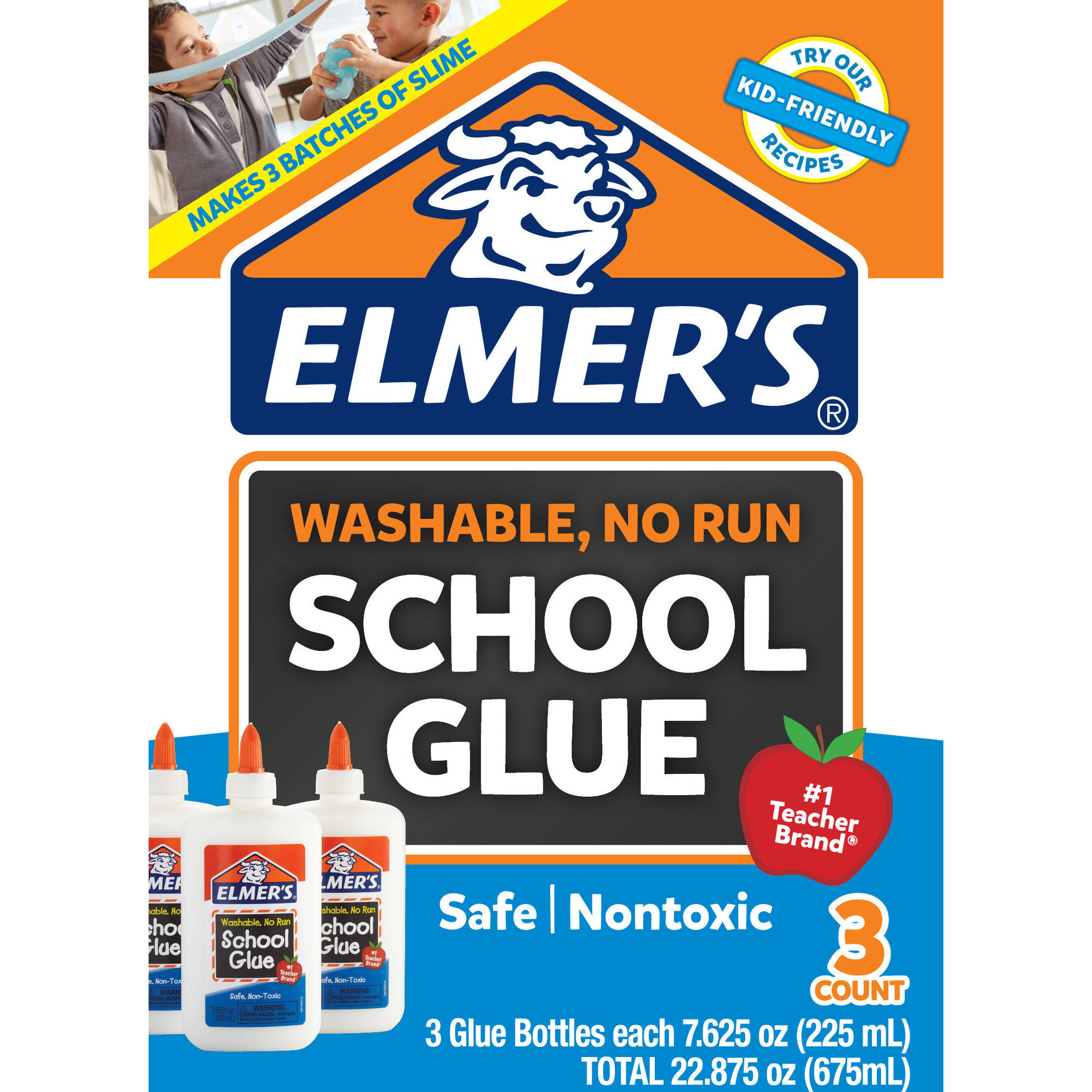Elmer's Liquid School Glue, White, Washable, 7.625 Ounces, 3 Count Slime Kit