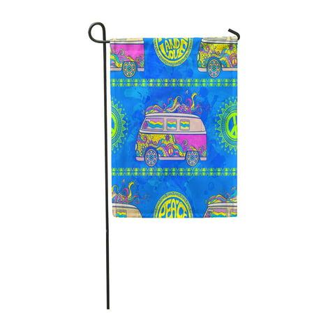 LADDKE Hippie Vintage Car Minivan Sign Popular for Flower Children Garden Flag Decorative Flag House Banner 28x40 inch - Hippie Flower Child