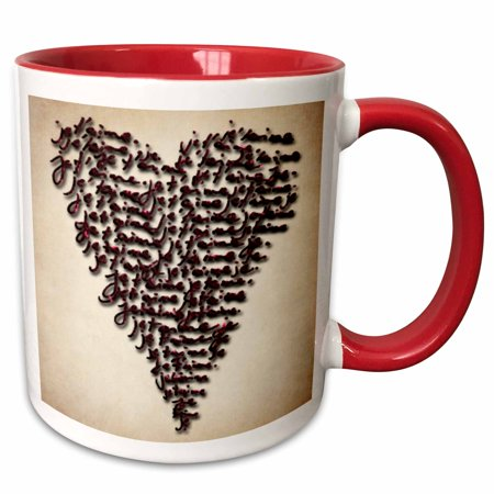 3dRose Heart Made Up Of French Words Je T Aime - Two Tone Red Mug,