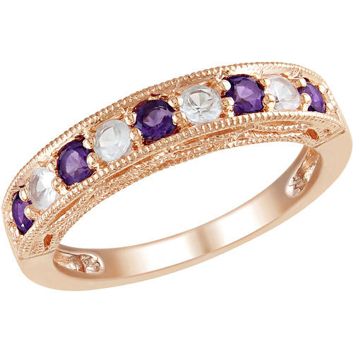 3/4 Carat T.G.W. Amethyst and Created White Sapphire Pink-Plated Sterling Silver Fashion Ring