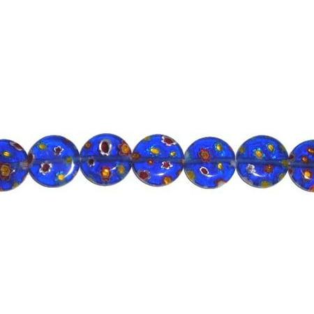 10mm dark blue Millefiori glass coin beads Jewelry making