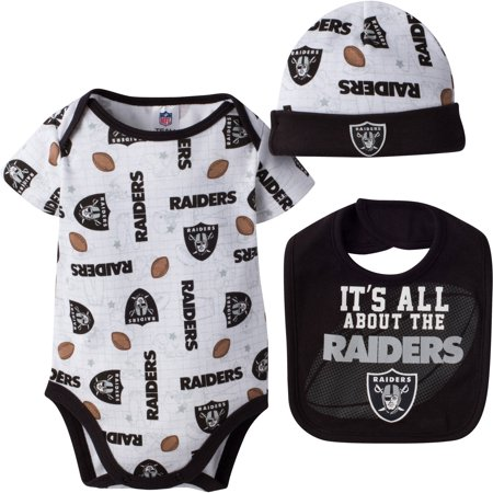 NFL Oakland Raiders Baby Boys Bodysuit, Bib and Cap Outfit Set, 3