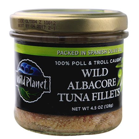Wild Planet Jarred Wild Albacore Tuna Fillets, 100% Poll & Troll Caught, in Spanish olive Oil, 4.5 Oz