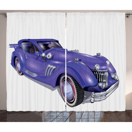 Cars Curtains 2 Panels Set, Custom Vehicle with Aerodynamic Design for High Speeds Cool Wheels Hood Spoilers, Window Drapes for Living Room Bedroom, 108W X 90L Inches, Violet Blue, by Ambesonne 36 Custom Panel Bottom