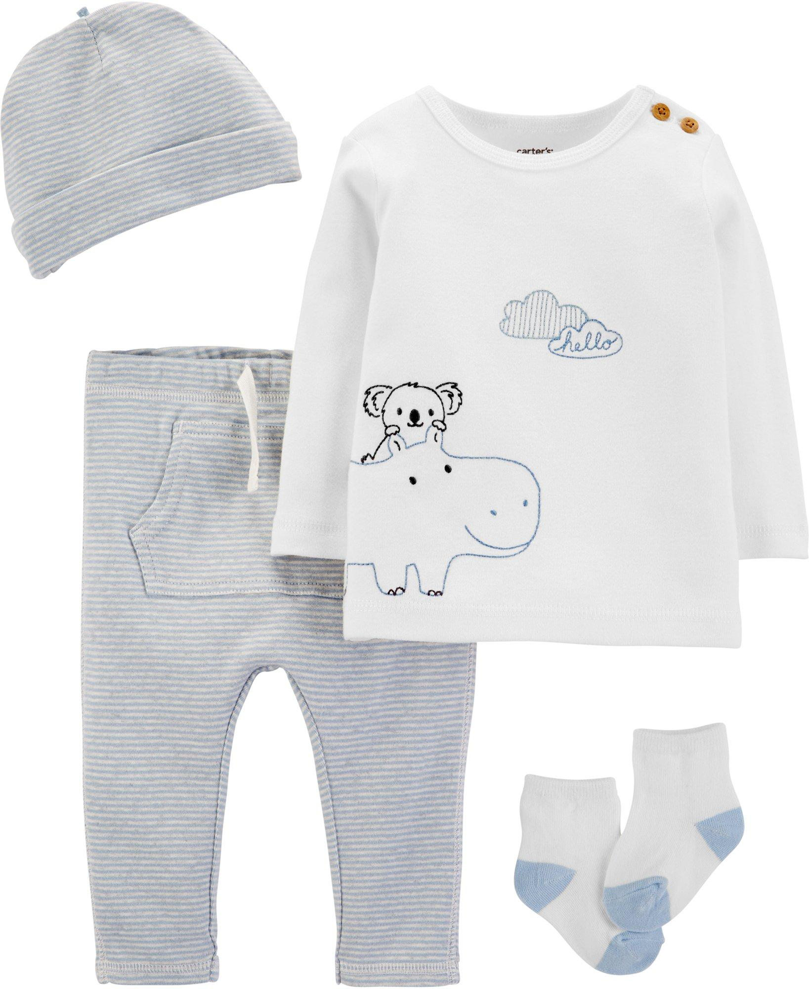 Boys Blue Knit Take Home Layette Set with Hat