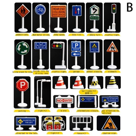 Toy Traffic Light (Mosunx 28 Pcs Car Toy Accessories Traffic Road Signs Kids Children Play Learn Toy)