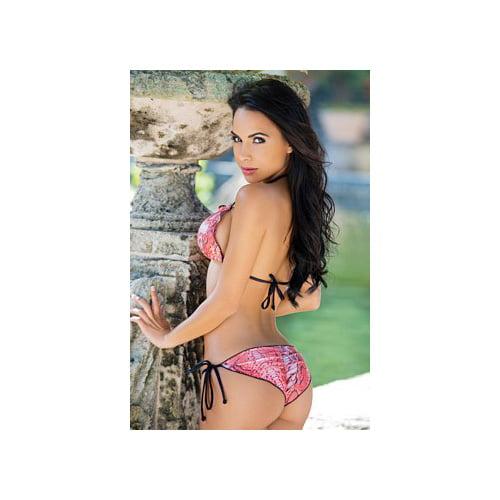 Chica Rica Womens Scalloped Tie Side Scrunch Bottom Viper