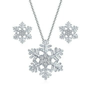 Holiday Party Flower Christmas Frozen Winter Cubic Zirconia Accent CZ Branch Snowflake Pendant Micro Pave Clear CZ Necklace Earring Set for Women 925 Sterling Silver