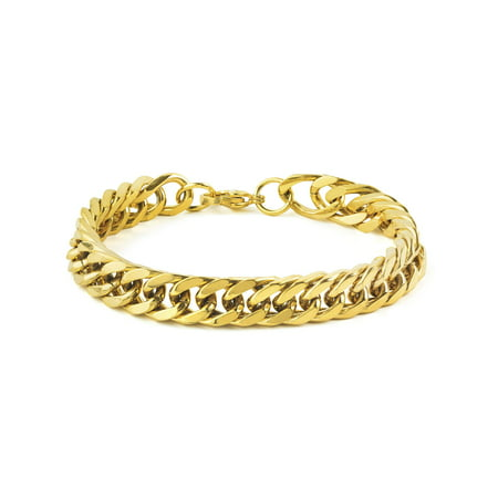 Gold Curb Chain Bracelet (Gold Stainless Steel 8-Inch Curb Link Chain Bracelet)