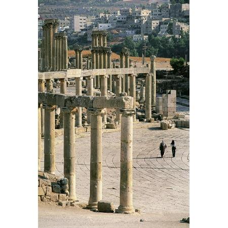 Roman Forum, Columns with Ionic Capitals, Archaeological Site, 1st Century Ad, Jerash, Jordan Print Wall