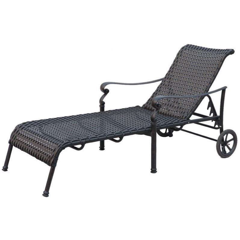 Darlee Victoria Wicker Patio Chaise Lounge in Espresso