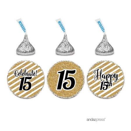 Milestone Chocolate Drop Labels Trio, Fits Hershey's Kisses Party Favors, 15th Birthday, 216-Pack, Not Real Glitter (Hot Chocolate Party Favor)