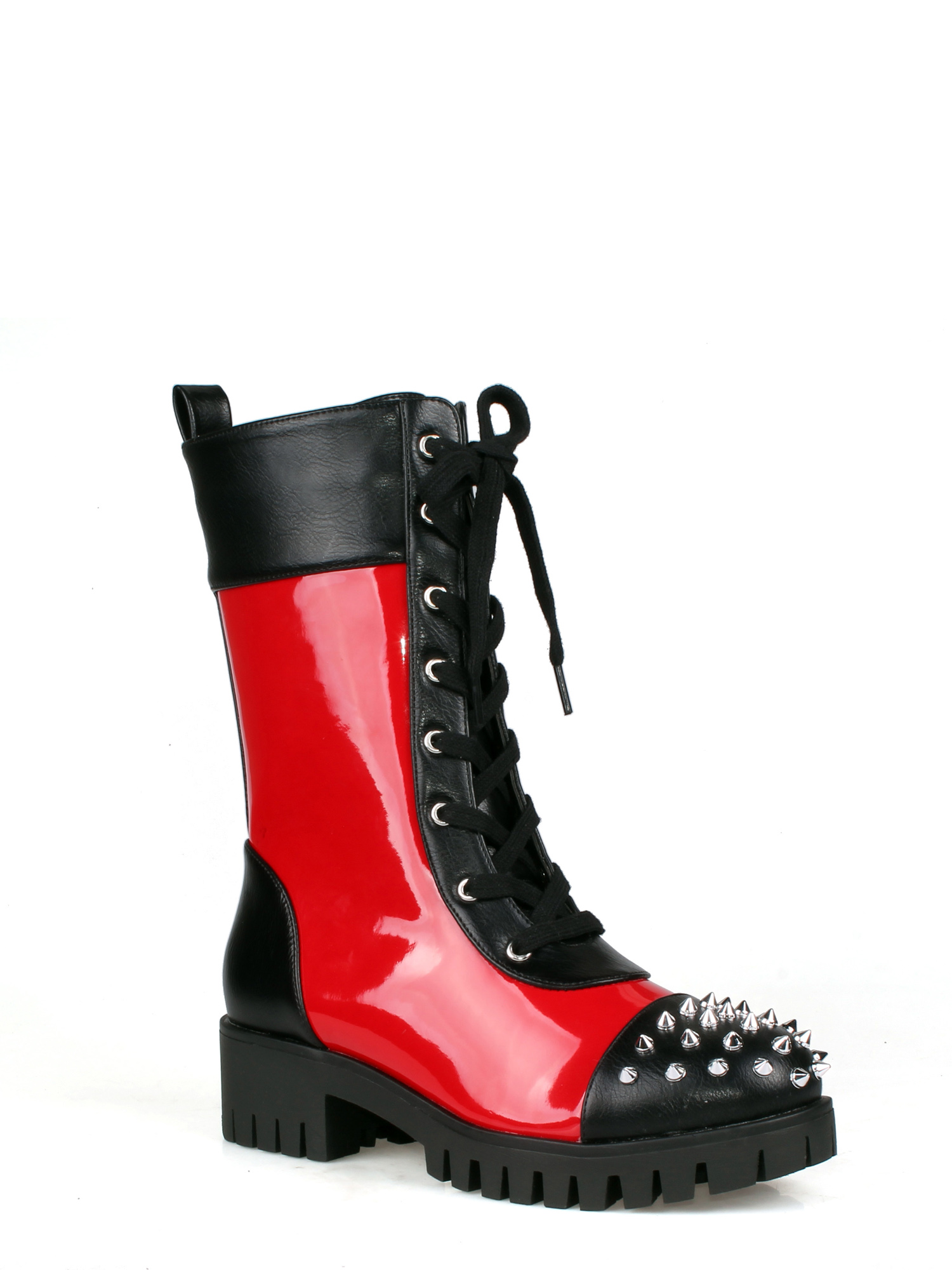 Spiky Combat Boots in Red