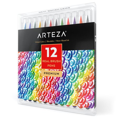 Arteza Real Brush Pens - 12 Colors - Watercolor Markers - (Set of 12) - Brush Pen Set