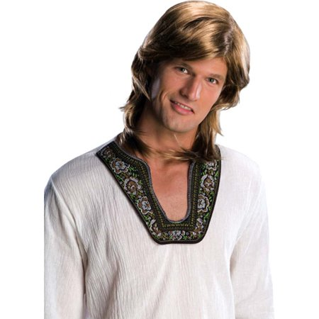 Adult Mens Blonde 70s Groovy Hippie Disco Costume Wig - Mens 70s Disco Costumes
