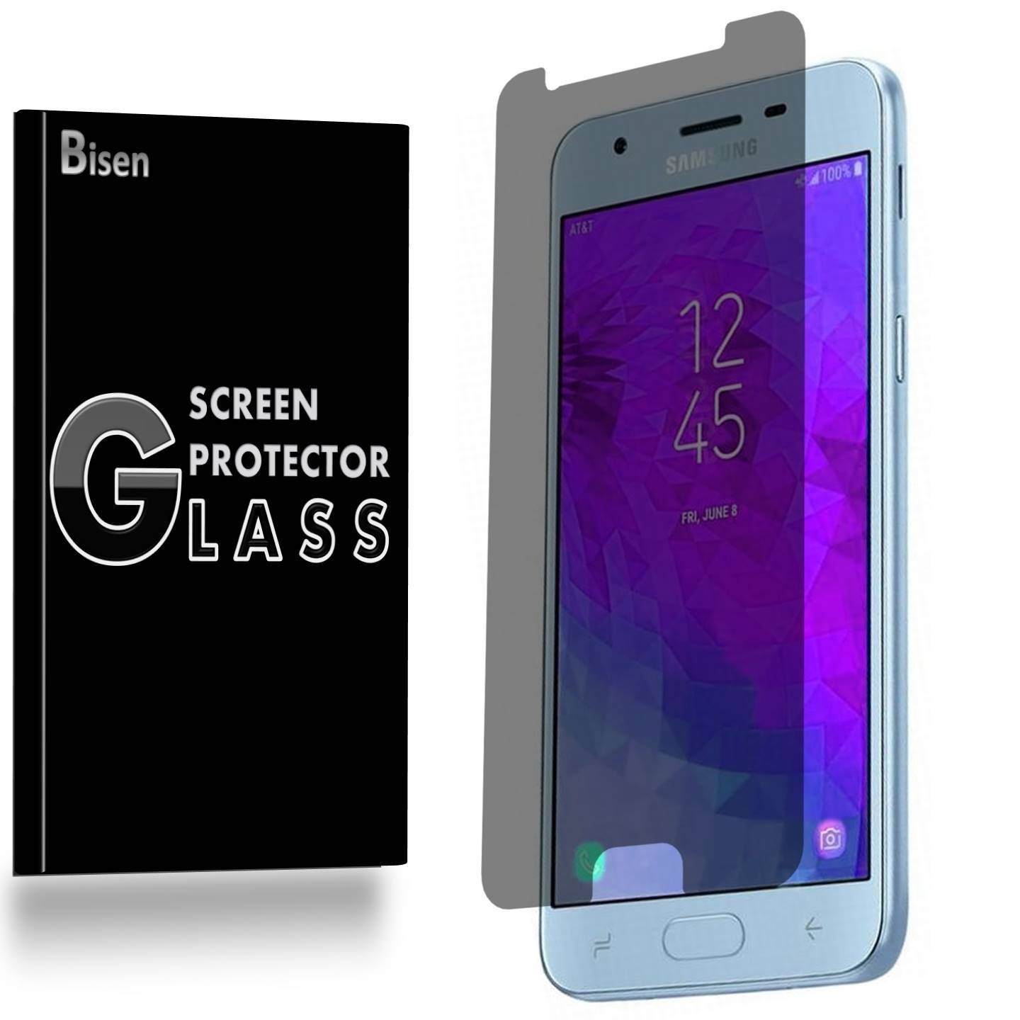 Samsung Galaxy J7 (2018) [2-Pack BISEN] Privacy Tempered Glass Screen Protector, Anti-Spy [Keep your screen secret]