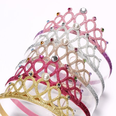 Baby Girls Crown Headbands Hollow Out Glitter Rhinestone Tiara Crown Princess Birthday Wedding Party Headpiece - image 3 de 5