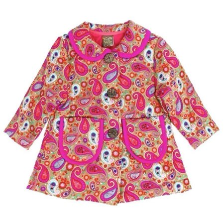 Maria Elena Little Girls Pink Paisley Pattern Peter Pan Collar - Girls Pink Jackets