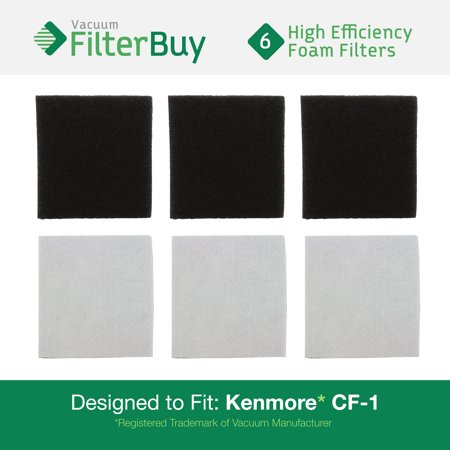6 Sears Kenmore CF1 Progressive Double Layer Foam Filters. Designed by FilterBuy to Replace Kenmore Part # CF1, CF-1, 20-86883, 86883, 2086883, 4370616, 8175084, 20-40321, 2040321, 40321.