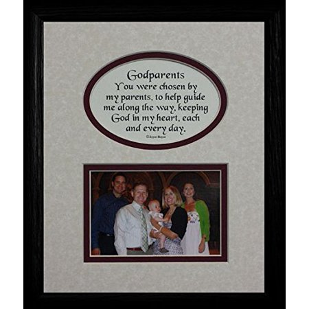 8X10 Godparents Picture & Poetry Photo Gift Frame ~ Cream/Burgundy Mat With Black Frame ~ Heartfelt Keepsake Picture Frame For The Godparents Baptism Or Christening Gift Idea (Godparent Picture Frame)