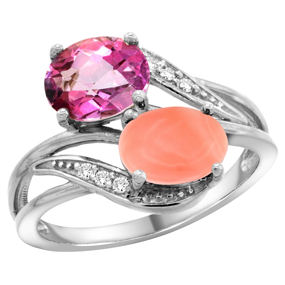 14K White Gold Diamond Natural Pink Topaz & Coral 2-stone Ring Oval 8x6mm, sizes 5 10 by WorldJewels