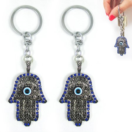2 Hamsa Evil Eye Lucky Keychain Key Ring Charm Amulet Kabbalah Chrystal Blue Set - Eye Rings